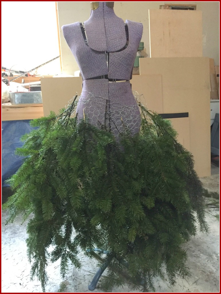 Adding greenery to my Christmas mannequin