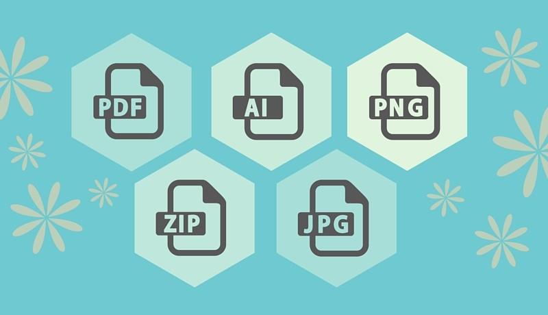 File Types Guide, PDF, AI, PNG, ZIP, JPG