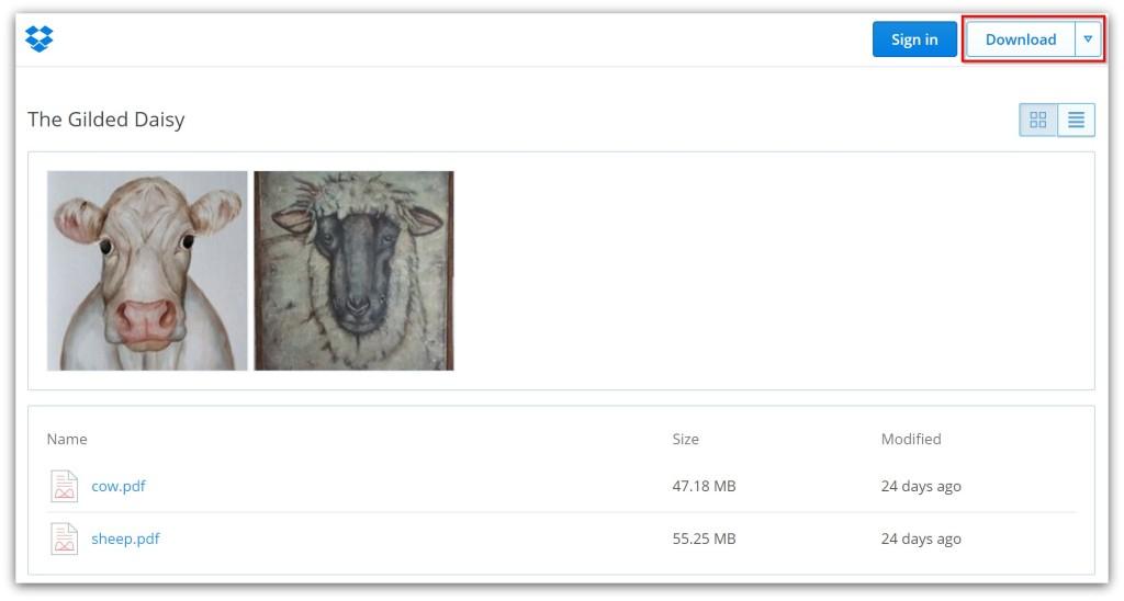 Dropbox folder download guide