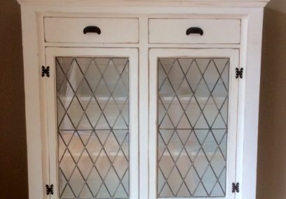 Antique Leaded Glass Cabinets